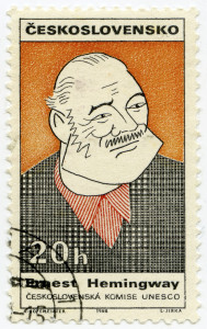 CZECHOSLOVAKIA - CIRCA 1968: A stamp printed in Czechoslovakia, shows portrait of the American writer Ernest Miller Hemingway, circa 1968